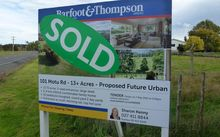 For Sale sign on land in proposed Future Urban area.