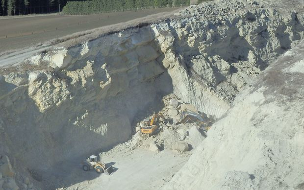 The Pyramid Valley quarry where a digger driver was buried in a rock slide.