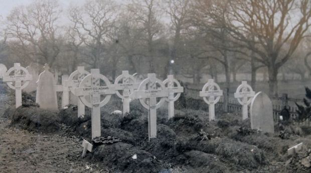 This is an image of crosses marking the New Zealand graves at Brockenhurst. Ninety three kiwis were eventually buried there. Deborah took this photo while she worked there.