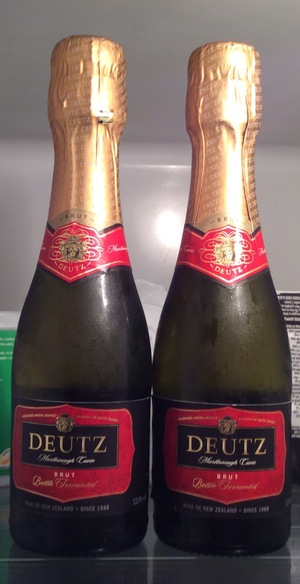 Two bottles of bubbly, courtesy of a well-wisher.