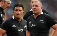 Keven Mealamu and Tony Woodcock playing for the All Blacks, 2012.