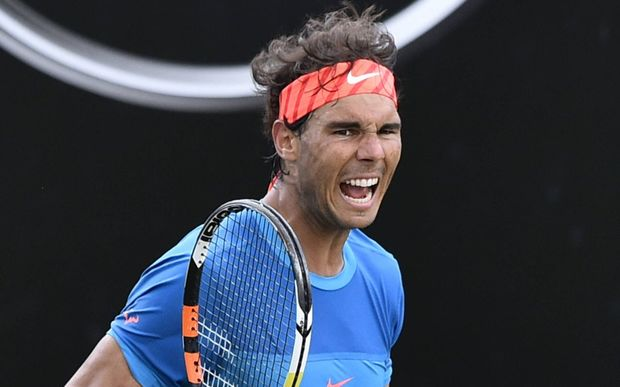 Rafael Nadal celebrates his win over Gail Monfils, Stuttgart, 2015.