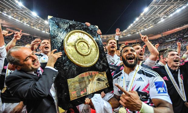 Stade Francais celebrate with the Top 14 trophy, 2015.