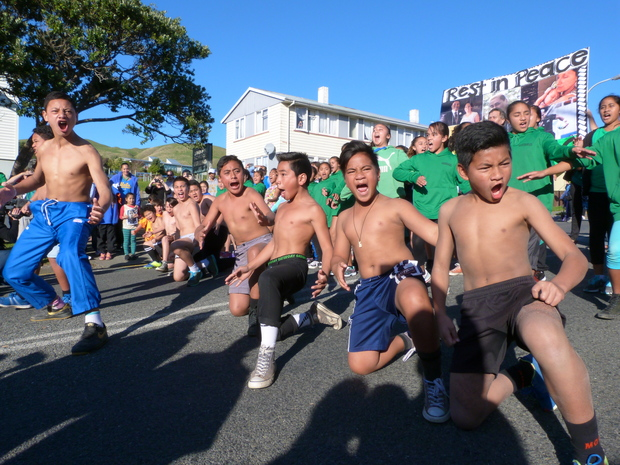 Corinna School pupils perform a haka.