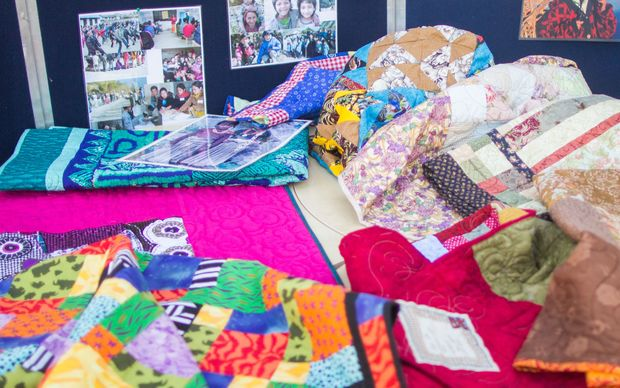 Quilts handmade in Canterbury, which will be sent to victims of the Nepal earthquake.