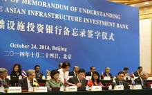 A signing ceremony of the Asian Infrastructure Investment Bank in Beijing in October last year.