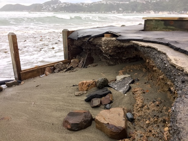 Erosion at a carpark at the eastern end of Wellington's Lyall Bay on 15 June 2015.