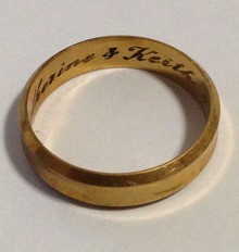 "The yellow-gold ring is engraved with ""Catherine and Keith"" and ""1968""."
