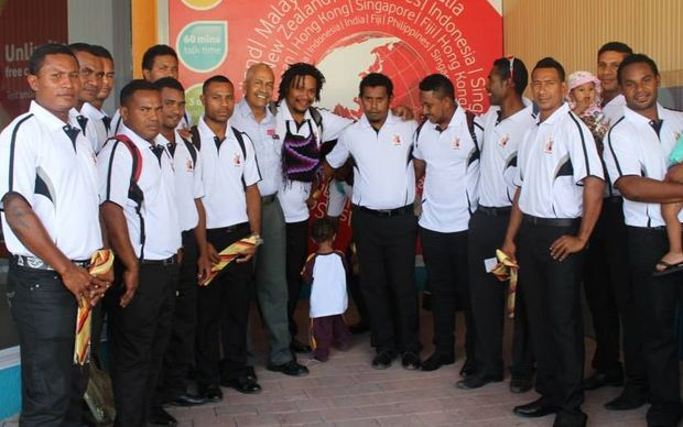 The PNG Barramundi's team at Jacksons International Airport in Port Moresby before departing for Europe.