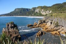 A stretch of the West Coast near Punakaiki (Pancake Rocks)