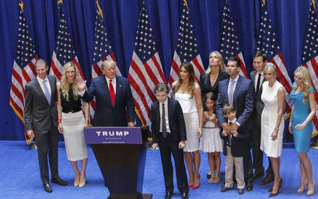 Donald Trump stands with his family after his announcement that he will run for the 2016 US presidential elections.