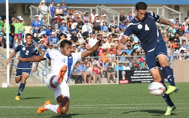 Guam's Travis Nicklaw attempts a shot in the Matao's 2-1 Football World Cup qualifying win over India.