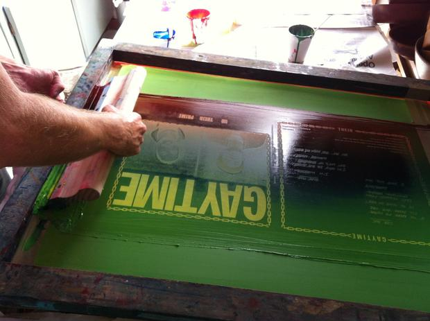 Screen printing the cover of Gaytime's 'In Our Prime'