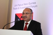 Papua New Guinea Prime Minister Peter O'Neill at the UK-PNG Trade and Investment Forum.