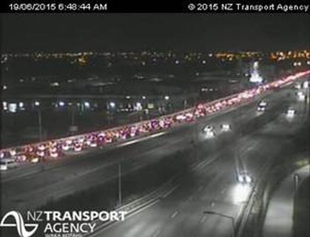 Auckland's northwestern motorway at 6.48am on 19 June.