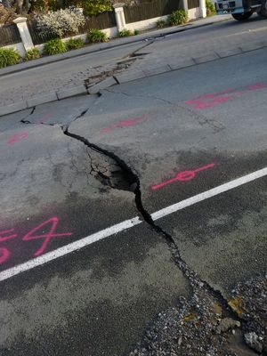 A crack in Woodham Road caused by the Christchurch Earthquake