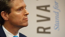 Colin Craig during the press conference announcing his resignation as leader of the Conservative Party (19 June).