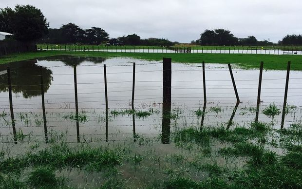 Flooding at Tasman Road in Otaki this morning.