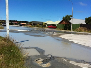 Liquefaction following Friday's quake.
