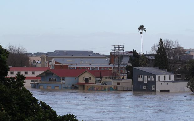 Flooding seen from Wairere Road on Bastia Hill in Wanganui on Sunday morning.