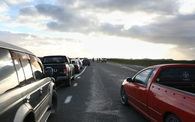 Cars on State Highway 3 waiting to get into Whanganui.
