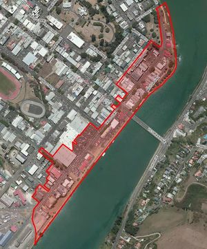 Map of flooded areas in Whanganui.
