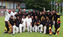 The PNG Barramundi's celebrate beating the Netherlands in a four-day Intercontinental Cup clash in Amsterdam.
