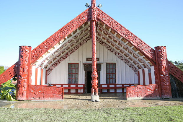 Pūtiki Marae's wharenui lies below ground level and, during the flood, had water as high as 60cm up its interior pillars.