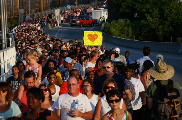 Marchers in a show of unity in Charleston on Sunday.