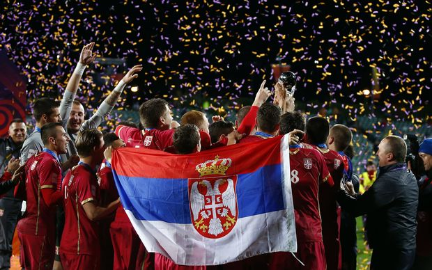 Serbia celebrates winning Fifa under-20 football World Cup in New Zealand 2015.
