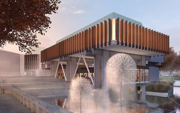 Artist's impression of a restored Christchurch Town Hall.