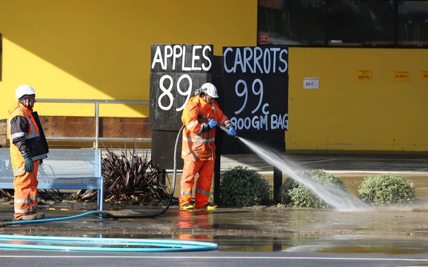 Flooding damage to a business on Taupo Quay.