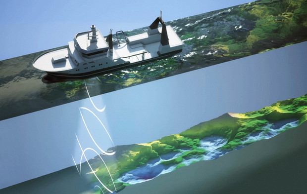 NIWA's multibeam echo-sounder maps the seafloor using a fan of acoustic beams providing complete coverage of the seabed. The resulting surveys show far greater detail than was possible with older equipment.