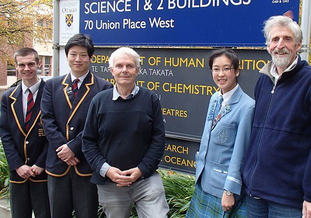 The Healthy Harbour Watchers team includes (from left) John McGlashan students Nic Taylor and Joshua Kim, chemist Barrie Peake,