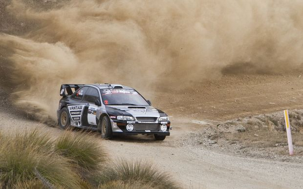 Alastair McRae of Scotland contesting the 2015 Race to the Sky in Wanaka in his Subaru.