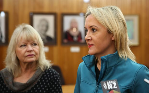 Civil Defence Minister Nikki Kaye gives an update on flooding, watched by Whanganui Mayor Annette Main.