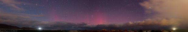 The Aurora over Wellington, Taken at Moa Point last night between 9.15pm and 9.18pm.