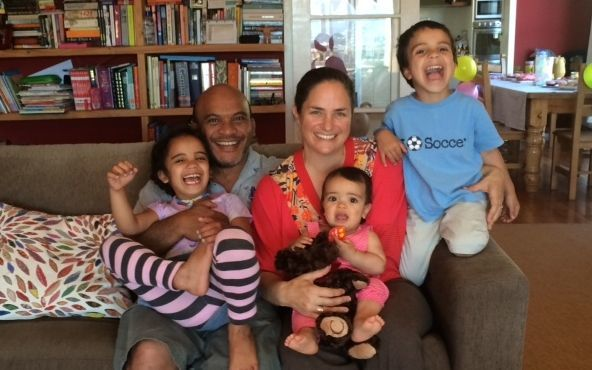 Suspended Nauru MP Roland Kun with his family at home in New Zealand