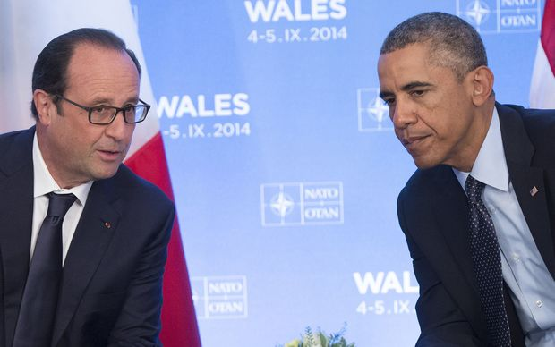 French President Francois Hollande and US President Barack Obama at a Nato summit in  September 2014.