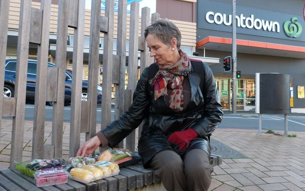 Shopper Jane Kitchenman with some of the vegetables packaged by Countdown.
