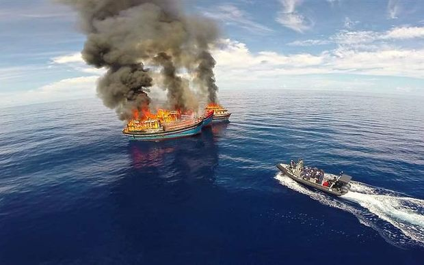 Illegal fishing vessels burnt off Palau waters