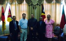 SPC Deputy Director-General Cameron Diver and the East Timor Foreign Minister Hernani Coelho and other dignitaries.