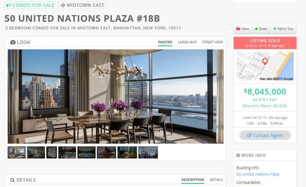 "A screenshot of the listing for the apartment, described as ""suitable for entertaining on a large scale""."