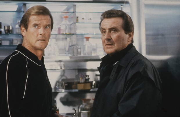 Patrick Macnee and Roger Moore in the 1985 James Bond film A View to a Kill.