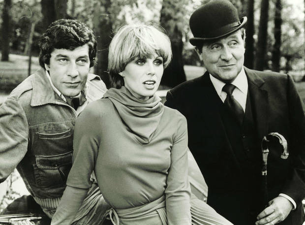 Gareth Hunt, Joanna Lumley and  Patrick Macnee starred in the 1970s revival The New Avengers.