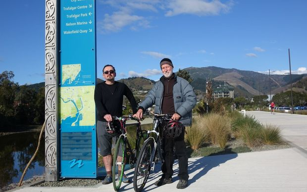 John-Paul Pochin (left) and Chris Allison of Bicycle Nelson Bays welcome news of $3 million in Government funds for a new coastal cycleway link in Nelson.