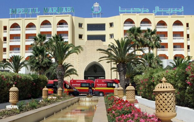 Ambulances parked in front of the Imperial Marhaba Hotel in the resort town of Sousse.
