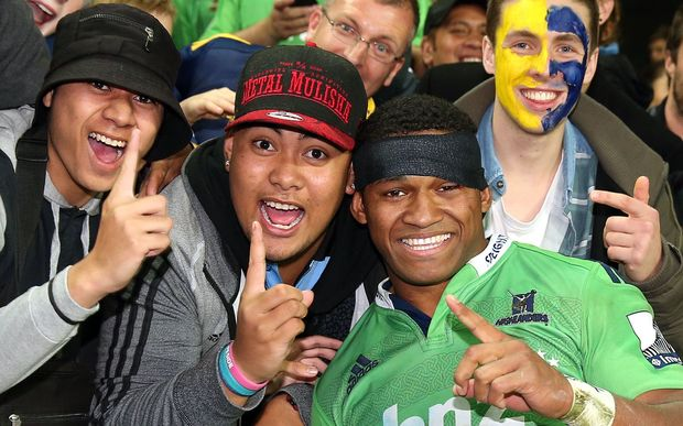 Waisake Naholo celebrates with the crowd following the Highlanders' semi-final win over the Waratahs.