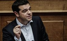 Greece's Prime Minister Alexis Tsipras speaks during an emergency Parliament session on 27 June.