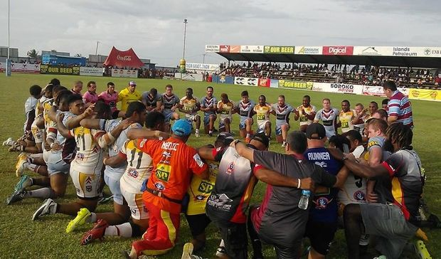 PNG Hunters and Central Queensland Capras players #takeakneeforackers following their Queensland Cup clash in Kokopo.